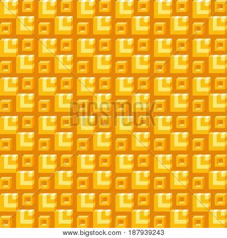 Geometric Pattern, Seamless Square Simple Background Texture 3D Orange Isometric Box
