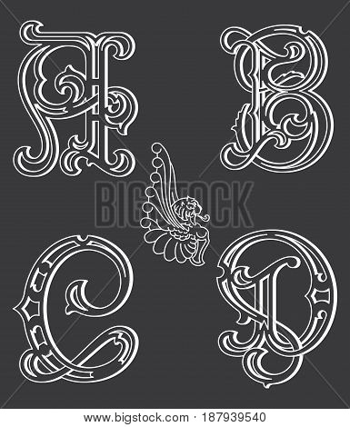 Vector set of uppercase white on black decorative font family typeface