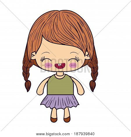 colorful silhouette of kawaii little girl with braided hair and facial expression laughing vector illustration