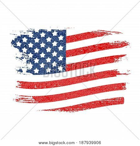 USA Flag Grunge Background. Can Be Used as Banner or Poster. Vector Illustration EPS10