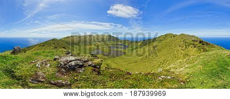 Panoramic view from the top of the crater rim on Corvo Island (Ilha do Corvo) Azores Portugal