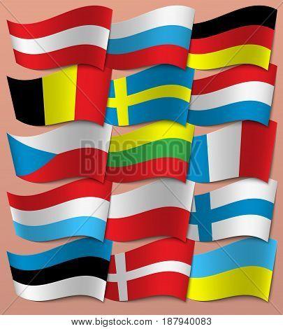 Set Europe flags. Europe Vector EPS 10