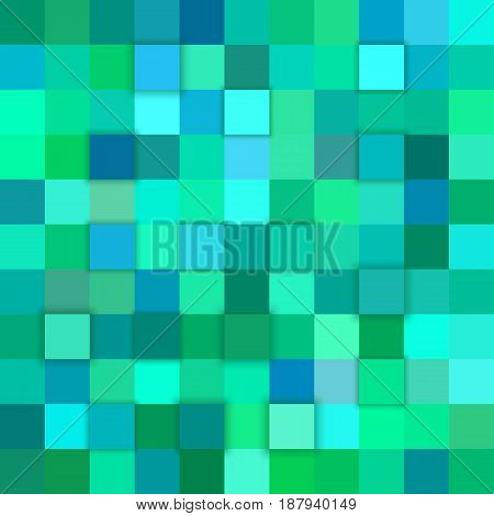 Teal abstract 3d cube mosaic background from squares