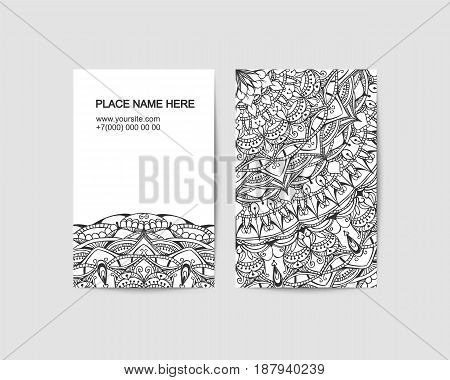 visit card vector template with lace pattern