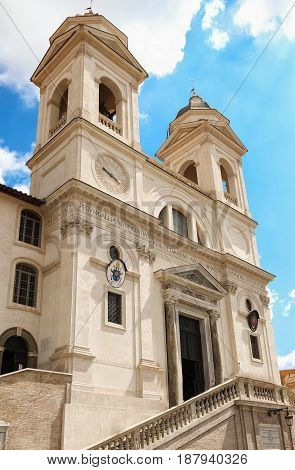 The Catholic church of Trinita dei Monti in Rome, Italy.