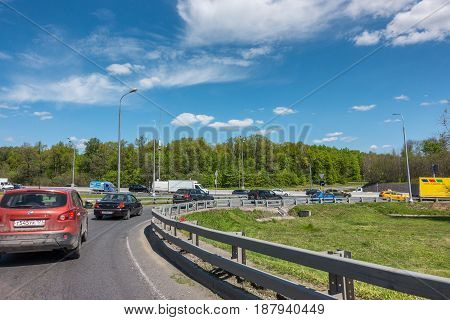 MOSCOW, RUSSIA - May 24, 2017: Moscow road traffic. Exit to Moscow