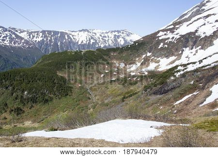 There is still some snow up on Mt. Roberts on May (Juneau Alaska).