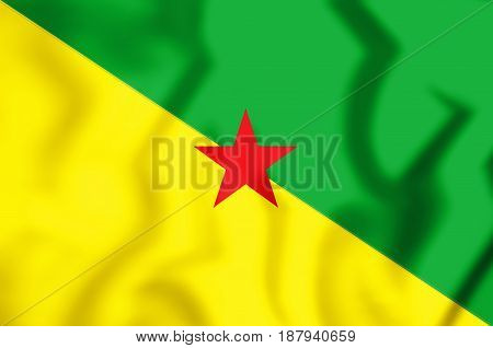 3D Flag Of French Guiana.
