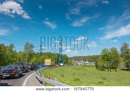 MOSCOW, RUSSIA - May 24, 2017: Moscow road traffic