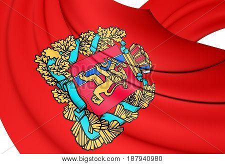 3D Flag Of Krasnoyarsk Krai, Russia.