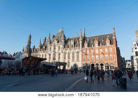 Brugge, Flnders. Provinciaal Hof Built In 1284 Neogothical Building On The Grote Markt Place In Brug