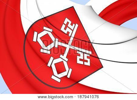 3D Flag Of Regensburg (bavaria), Germany.