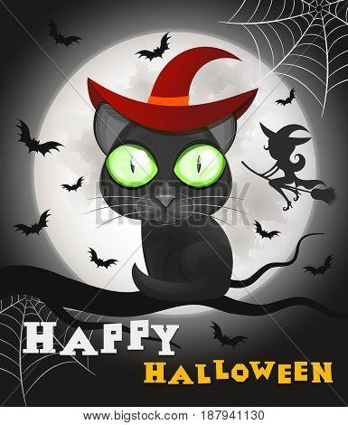 Halloween Black Cat Against a Moon Night Sky.