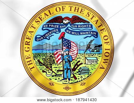 3D Iowa State Seal, Usa.