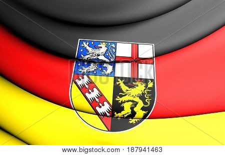 3D Flag Of Saarland, Germany.