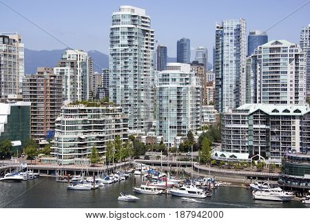 The skyline of Davie Village the residential district in Vancouver downtown (British Columbia).