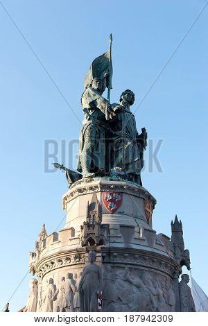 Monument To Jan Breydel And Pieter De Coninck In Bruges, Belgium