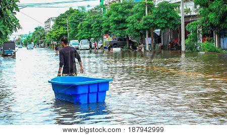 Lopburi Thailand October 7 2011: rain for several days causing flooding streets and public houses