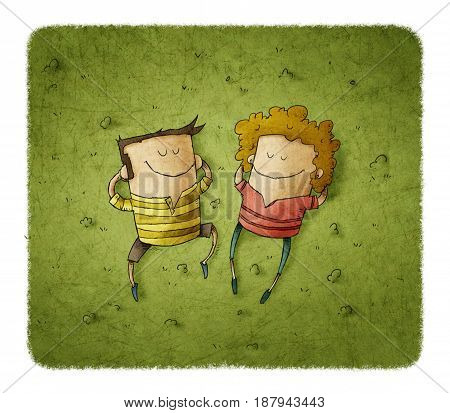 Illustration of happy couple lying on green grass with smiles