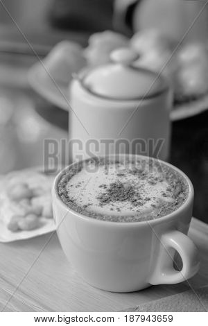 coffee cappuccino art in mug With a relaxing time