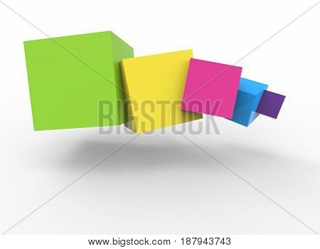 3d illustration of colorful cubes. white background isolated. icon for game web.