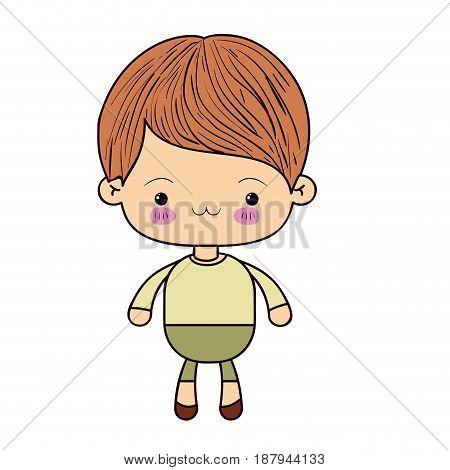 colorful silhouette of kawaii little boy with facial expression exhausted vector illustration