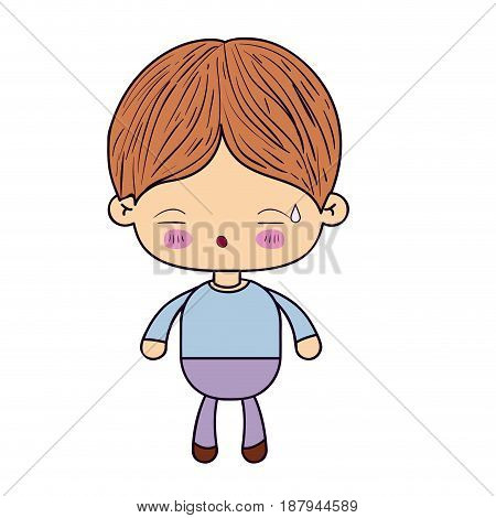 colorful silhouette of kawaii little boy with facial expression of tired vector illustration