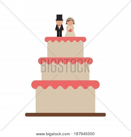 cake with wife and groom topper wedding related icon image vector illustration design
