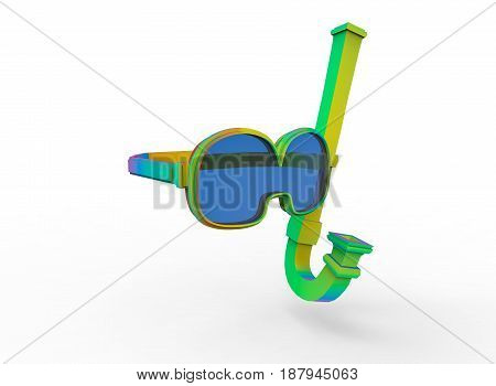3d illustration of diving mask glasses. white background isolated. icon for game web.