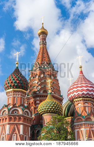 St. Basil's Cathedral summer view in Moscow Russia