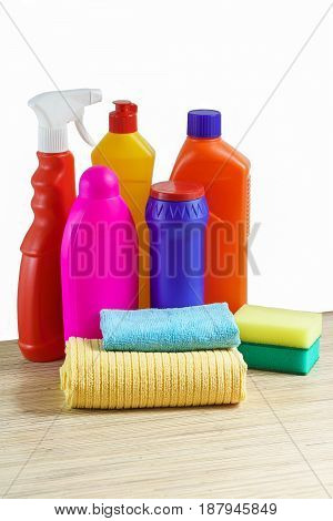 Cleaning products for home cleaning on a white background