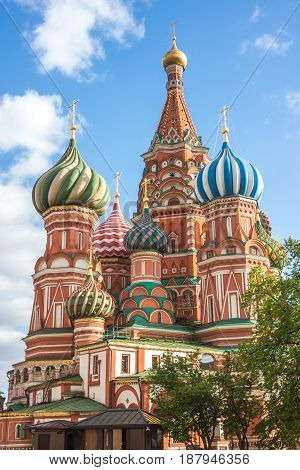 St. Basil's Cathedral beautiful view in Moscow Russia