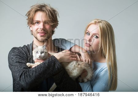 family couple in love with cat. woman or cute girl with long blond hair and happy man or macho holding adorable cat or kitten pet fluffy domestic animal in arms on grey background. Veterinarian