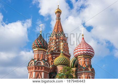 St. Basil's Cathedral beautifull sunset view in Moscow Russia