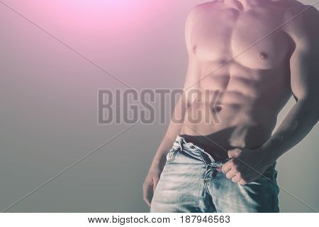 Muscular, Athletic, Strong, Naked Male Torso