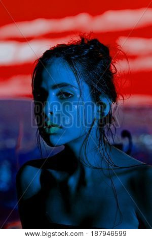 Girl, Mysterious Woman With Blue Color Shining Skin