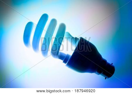 Compact Fluorescent Light Bulb on Blue Background