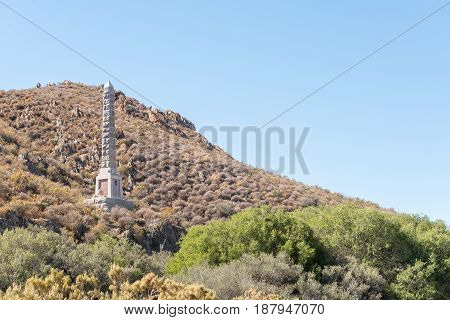 MATJIESFONTEIN SOUTH AFRICA - APRIL 2 2017: Monument for Major General Andrew Wauchope near Matjiesfontein a village in the Karoo region of the Western Cape Province