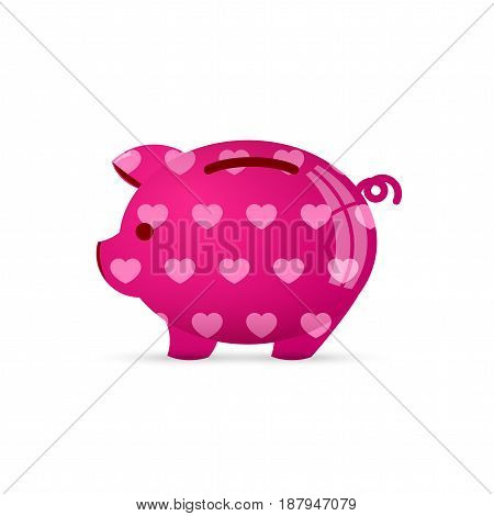 Piggy bank with heart. Save love concept. Vector illustration
