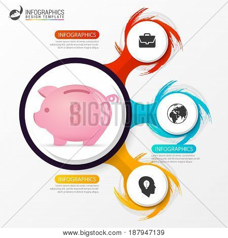Infographic design template. Business concept with pig. Vector illustration