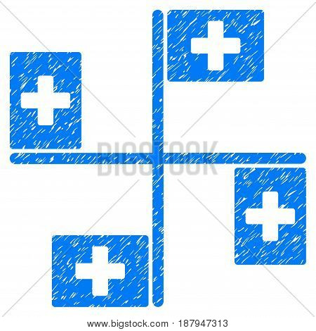 Grunge Hospital Flags icon with grunge design and scratched texture. Unclean vector blue pictogram for rubber seal stamp imitations and watermarks. Draft emblem symbol.