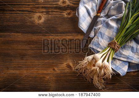 Bunch Of Young Green Garlic