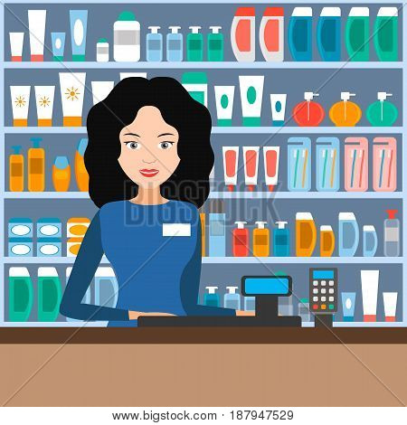 Girl seller in shop of cosmetics hygiene and self-care amid shelves of merchandise. Vector illustration.