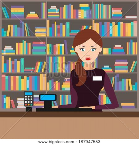 Girl seller at the bookstore in the background of the shelves with the goods. Vector illustration. Flat.