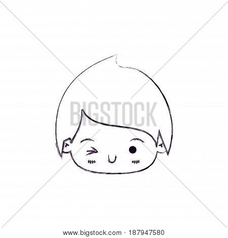 monochrome blurred silhouette of facial expression wink eye kawaii little boy vector illustration