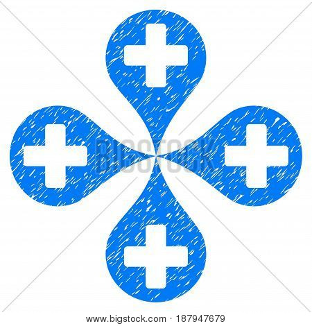 Grunge Hospital Map Markers icon with grunge design and dirty texture. Unclean vector blue pictogram for rubber seal stamp imitations and watermarks. Draft emblem symbol.