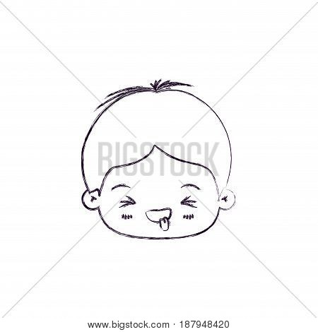 monochrome blurred silhouette of facial expression disgust kawaii little boy vector illustration