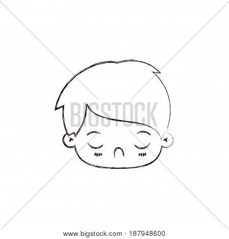 monochrome blurred silhouette of facial expression tired kawaii little boy vector illustration