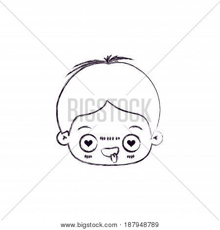 monochrome blurred silhouette of facial expression enamored kawaii little boy vector illustration
