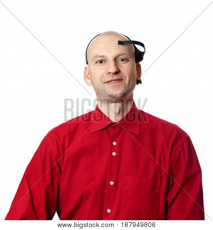 Portrait Of Young Man In Red Shirt With Eeg Headset On Head